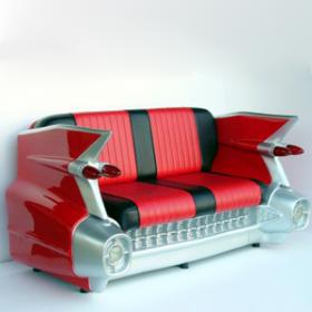Sofa Cadillac noir et rouge