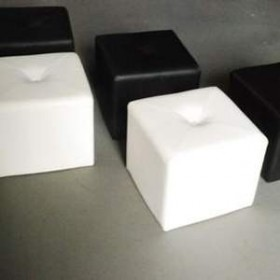 Pouf cube blanc 33cm