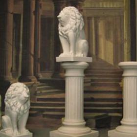 Statue Lion blanche en pierre 76cm