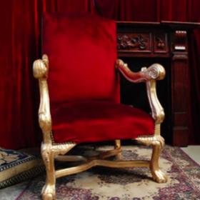 Trône Père Noël velours rouge 125cm