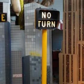 """Panneau de rue """"No Turn"""" 220cm"""