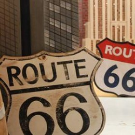 """Panneau """"Route 66"""" 115cm"""