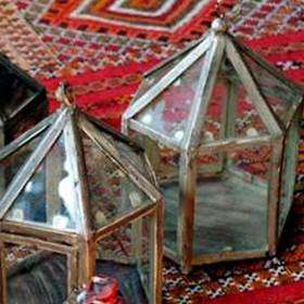 Lanterne hexagonale en verre