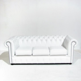 Chesterfield blanc 3 places 72cm