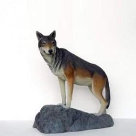 Loup sur rocher 124cm